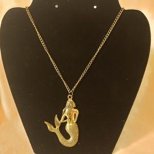 Brushed Gold Mermaid Pendant Long Necklace